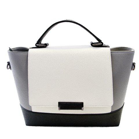 Trendy PU Leather and Color Block Design Tote Bag For Women - GREY/WHITE