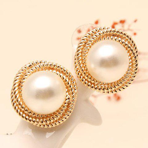 Fake Pearl Round Stud Earrings - GOLDEN