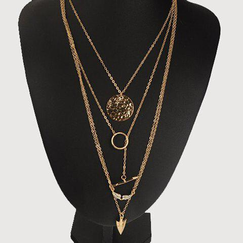 Angle Wing Arrow Pendant Multilayer Necklace - GOLDEN