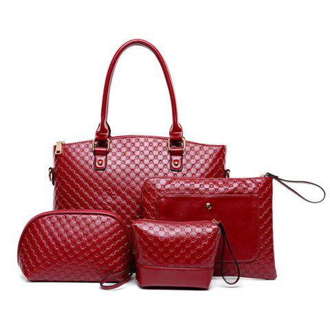 Stylish Zip and Checked Design Tote Bag For Women - WINE RED