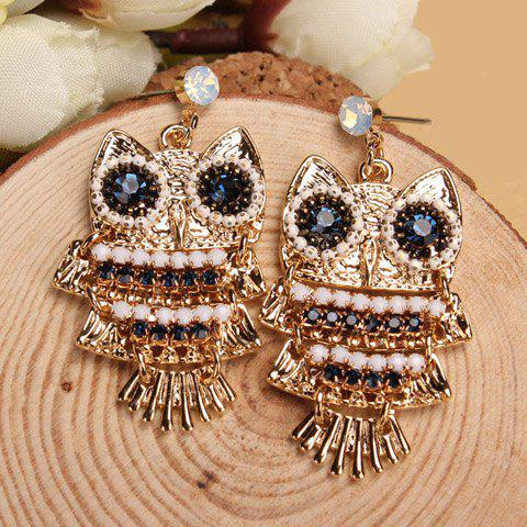 Pair of Chic Women's Rhinestone Beads Owl Earrings - BLUE