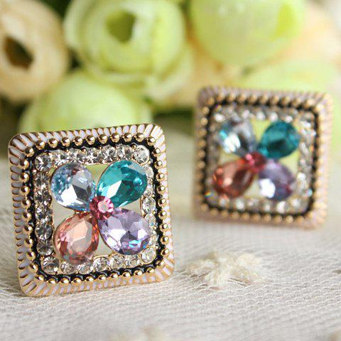 Pair of Faux Gem Square Flower Shape Earrings - COLOR ASSORTED