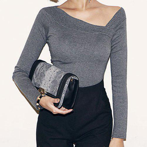 Stylish V-Neck Long Sleeve Solid Color Women's T-Shirt - GRAY S