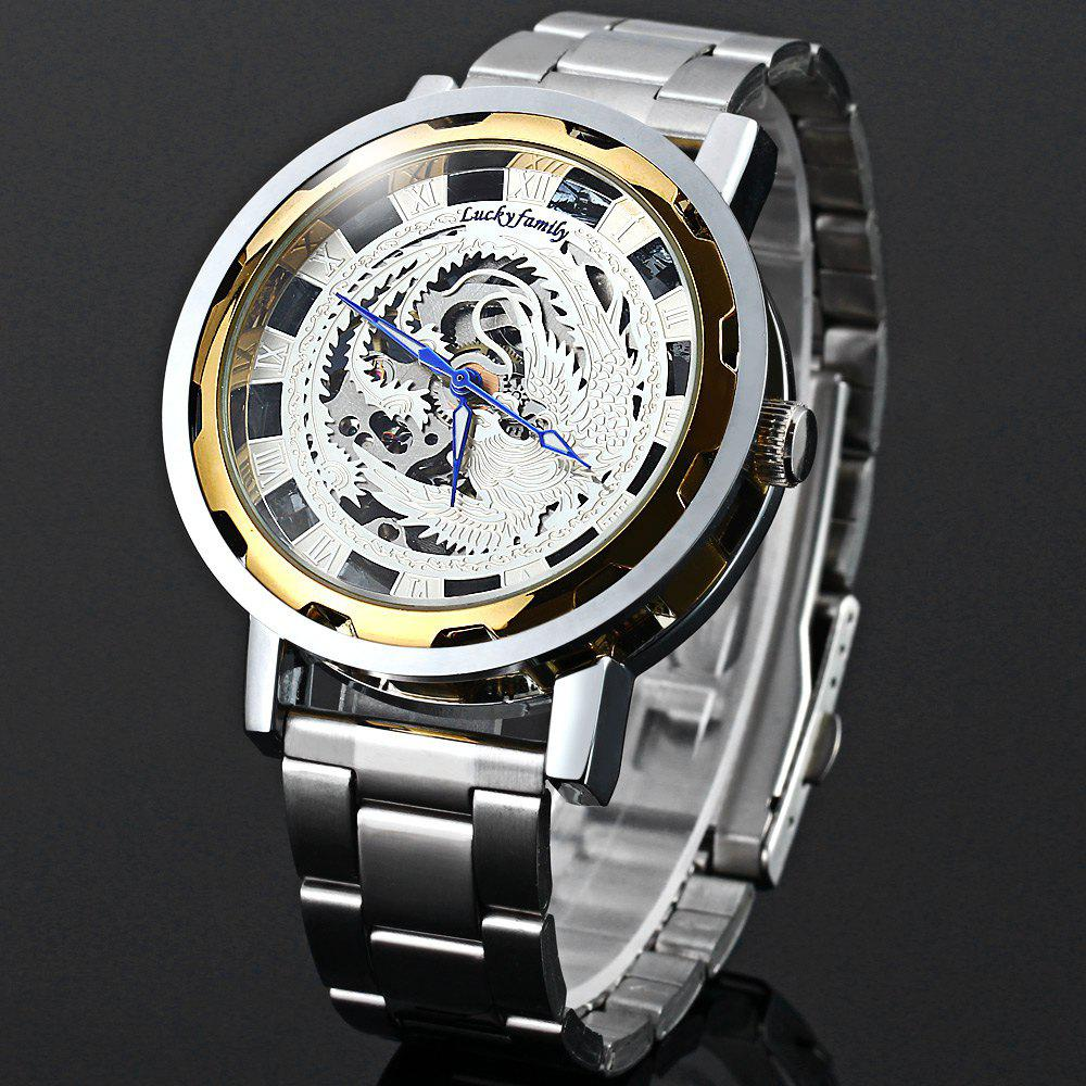 Lucky family Automatic Mechanical Watch Phoenix Pattern Hollow-out Round Dial Stainless Steel Strap for Women - WHITE GOLDEN