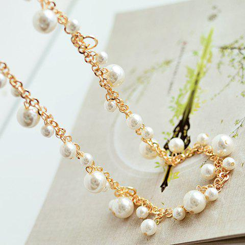 Endearing Women's Faux Pearl Embellished Sweater Chain Necklace