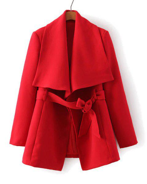 Solid Color Turn-Down Collar Long Sleeve Self-Tie Trendy Style Women's Coat - RED S
