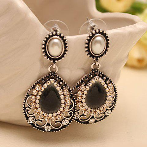 Pair of Cute Delicate Women's Pearl Rhinestone Drop Pendant Earrings - BLACK