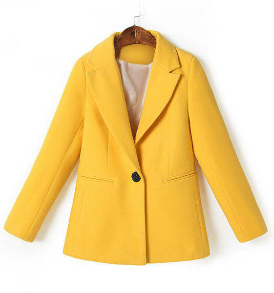 Elegant Yellow Lapel Worsted Long Sleeve Coat For Women