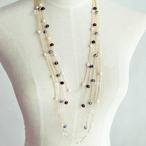 Gorgeous Black Beads Embellished Women's Sweater Chain Necklace - COLOR ASSORTED