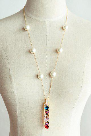 Seductive Colorful Crystal Embellished Women's Sweater Chain Necklace - COLORMIX