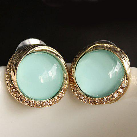 Pair of Chic Women's Rhinestone Opal Inlaid Round Earrings - LIGHT BLUE