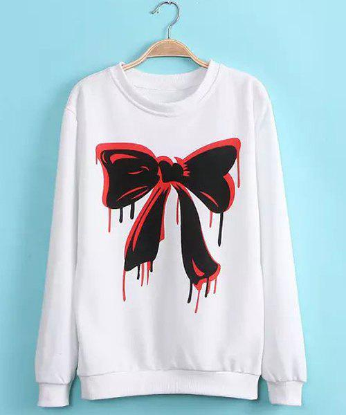 Active Bow Tie Print Round Neck Cotton Blend Long Sleeve Sweatshirt For Women - WHITE M