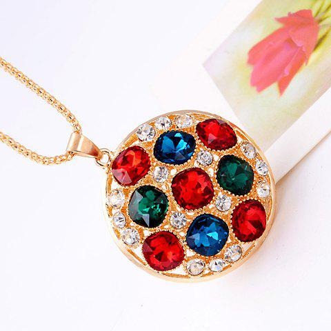 Seductive Women's Colorful Crystal Embellished Round Sweater Chain Necklace - COLORMIX