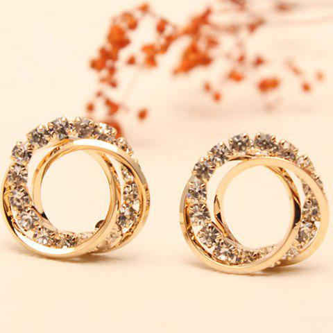 Pair of Women's Seductive Rhinestone Embellished Round Shape Openwork Earrings - GOLDEN