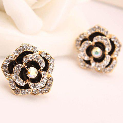 Pair of Seductive Gemstone Embellished Flower Shape Women's Earrings - COLOR ASSORTED
