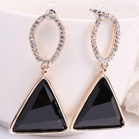 Pair of Seductive Crystal Embellished Triangle Shape Pendant Women's Earrings - BLACK