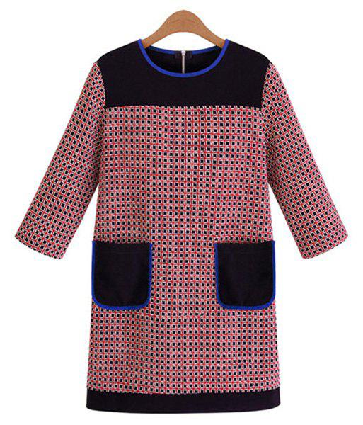 Stylish Round Collar 3/4 Sleeve Checked Splicing Color Block Pockets Women's Dress