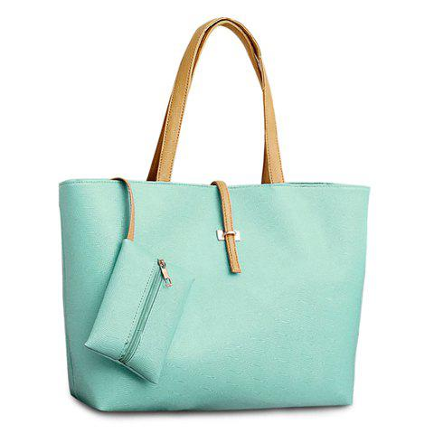 Cute Candy Color and Buckle Design Shoulder Bag For Women - MINT GREEN