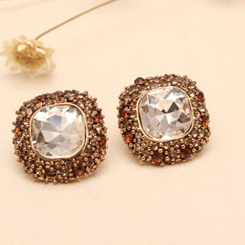 Pair of Chic Women's Rhinestone Gem Square Earrings -  COLOR ASSORTED