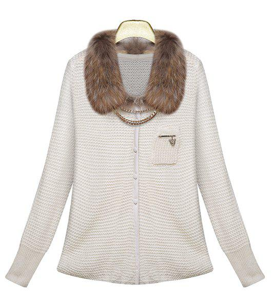 Stylish Detachable Faux Fur Collar Solid Color Openwork Long Sleeve Cardigan For Women
