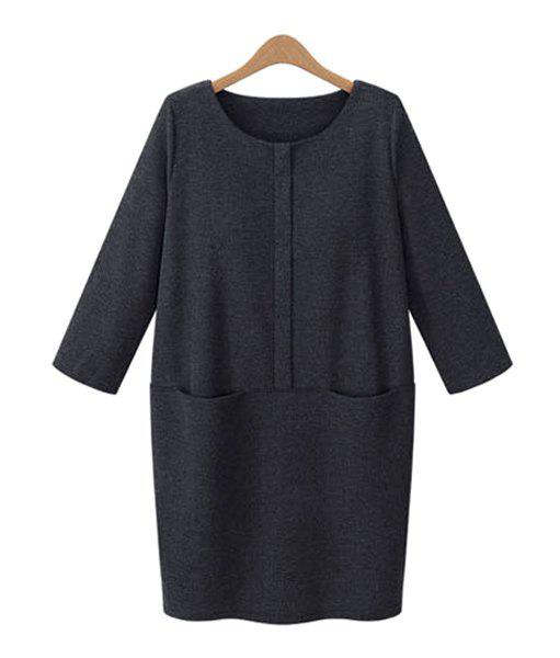 Elegant Solid Color Round Collar Buttons Embellished 3/4 Sleeve Dress For Women цена