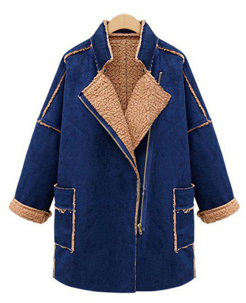 Splicing Double Pockets Lapel Neck Long Sleeve Trendy Style Women's Coat - BLUE S
