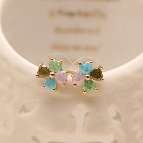 Pair of Fashion Chic Women's Leaf Colored Rhinestone Earrings - COLORMIX