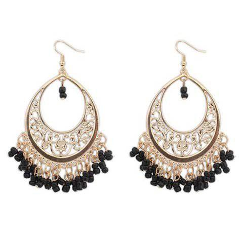 Pair of Glamourous Beads Embellished Round Shape Openwork Women's Earrings - BLACK
