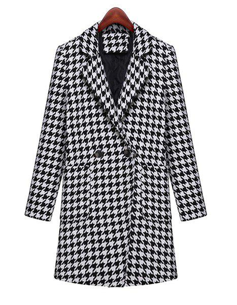 Fashionable Lapel Houndstooth Pattern Thicken Long Sleeve Long Coat For Women - WHITE/BLACK XL