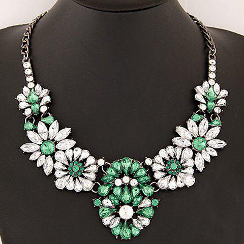 Glamourous Faux Gem Embellished Flower Shape Women's Necklace - GREEN