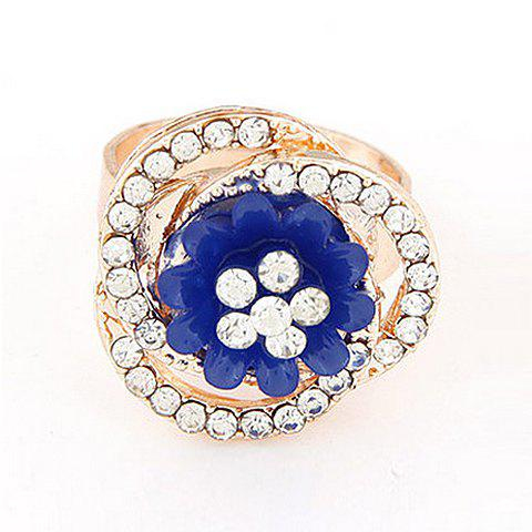 Glamourous Rhinestone Embellished Flower Shape Women's Ring - COLOR ASSORTED ONE-SIZE