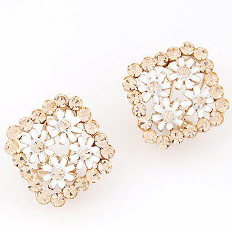 Pair of Glamourous Flowers Embellished Square Shape Women's Earrings - WHITE