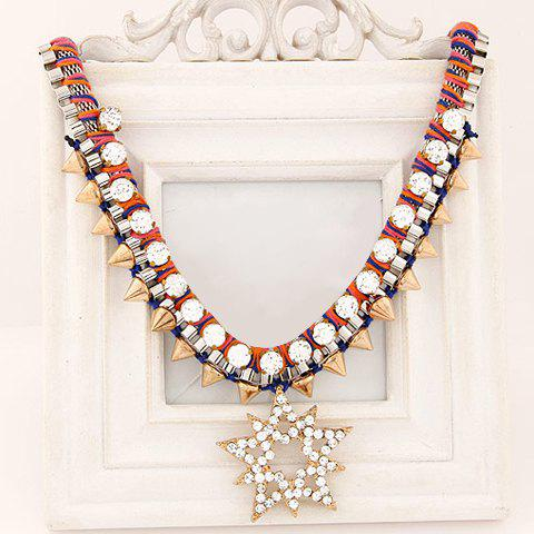 Attractive Rivet Embellished Special Shape Pendant Women's Necklace - RED