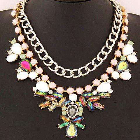 Attractive Gemstone Embellished Pendant Women's Necklace - COLORFUL