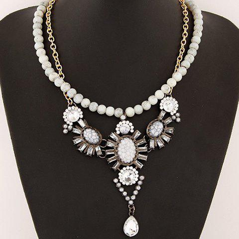 Beads Faux Gemstone Embellished Pendant Necklace -  OFF WHITE
