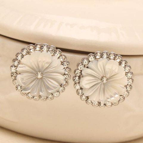 Pair of Shining Rhinestone Embellished Daisy Pattern Earrings For Women