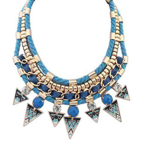 Attractive Solid Color Triangle Shape Pendant Embellished Women's Necklace - BLUE