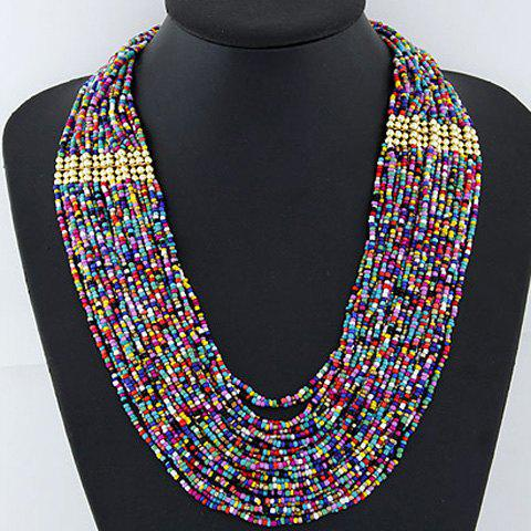 Attractive Women's Candy Color Beads Embellished Multi-Layered Necklace