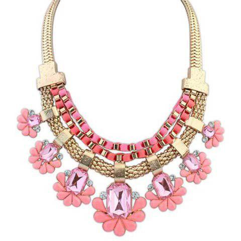 Attractive Solid Color Gemstone Embellished Pendant Women's Necklace - PINK
