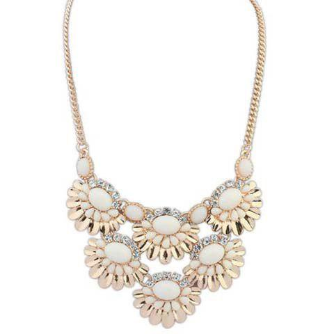 Attractive Solid Color Faux Gem Embellished Pendant Women's Necklace - WHITE