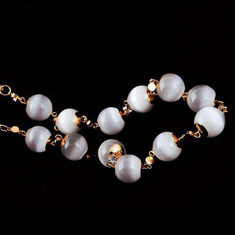Fashion Faux Opal Embellished Sweater Chain For Women - WHITE