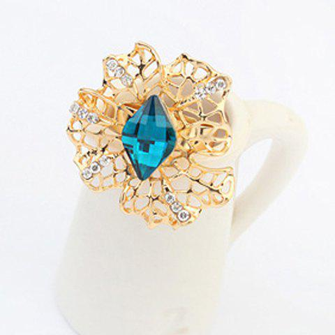 Glamourous Solid Color Faux Gem Embellished Flower Shape Openwork Women's Ring - BLUE ONE-SIZE