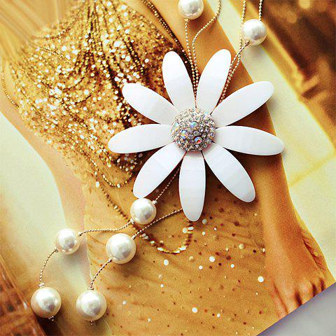 Exquisite Diamante Daisy Shape Pendant Faux Pearl Embellished Sweater Chain For Women