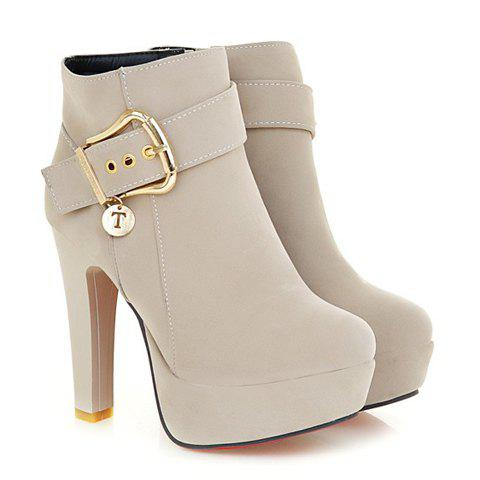 Stylish Chunky Heel and Metallic Buckle Design Suede Boots For Women - NUDE 39