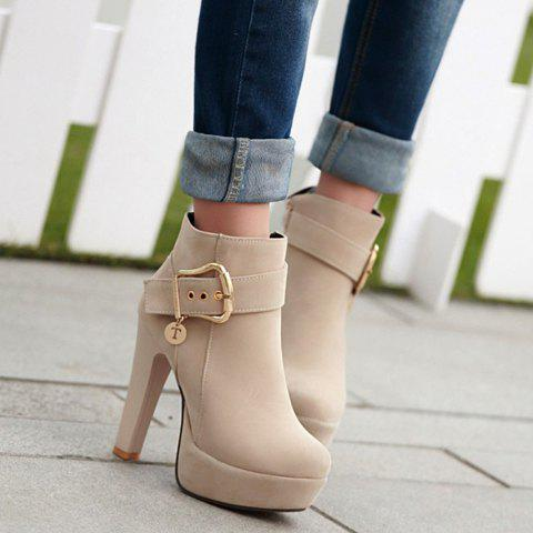 Stylish Chunky Heel and Metallic Buckle Design Suede Boots For Women - NUDE 37