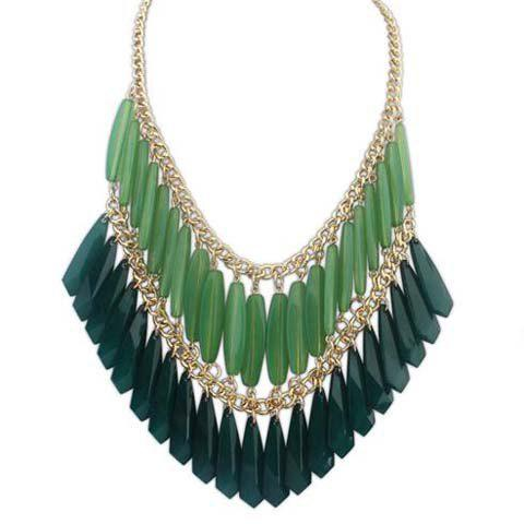 Glamourous Solid Color Faux Gem Embellished Multi-Layered Women's Necklace -  GREEN