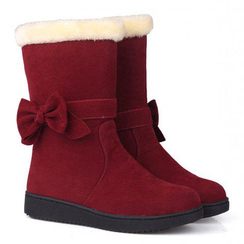Preppy Solid Color and Bow Design Women's Suede Snow Boots - RED 39