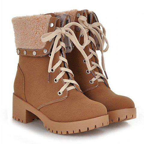 Trendy Turnover and Rivets Design Short Boots For Women - BROWN 39