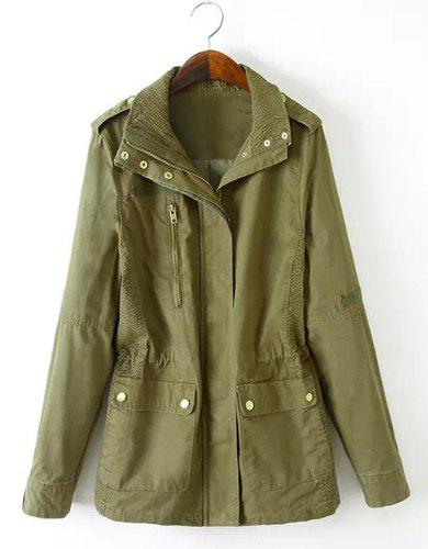 Casual Solid Color Turn-Down Collar Elastic Waist Long Sleeve Coat For Women - ARMY GREEN S