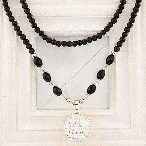 Glamourous Solid Color Rhinestone Embellished Ball Shape Women's Sweater Chain Necklace - WHITE